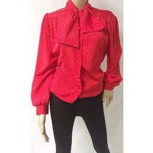 Red Vintage Bow Top Size Large